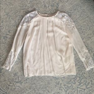 Alice and Olivia white blouse, lace detail size S